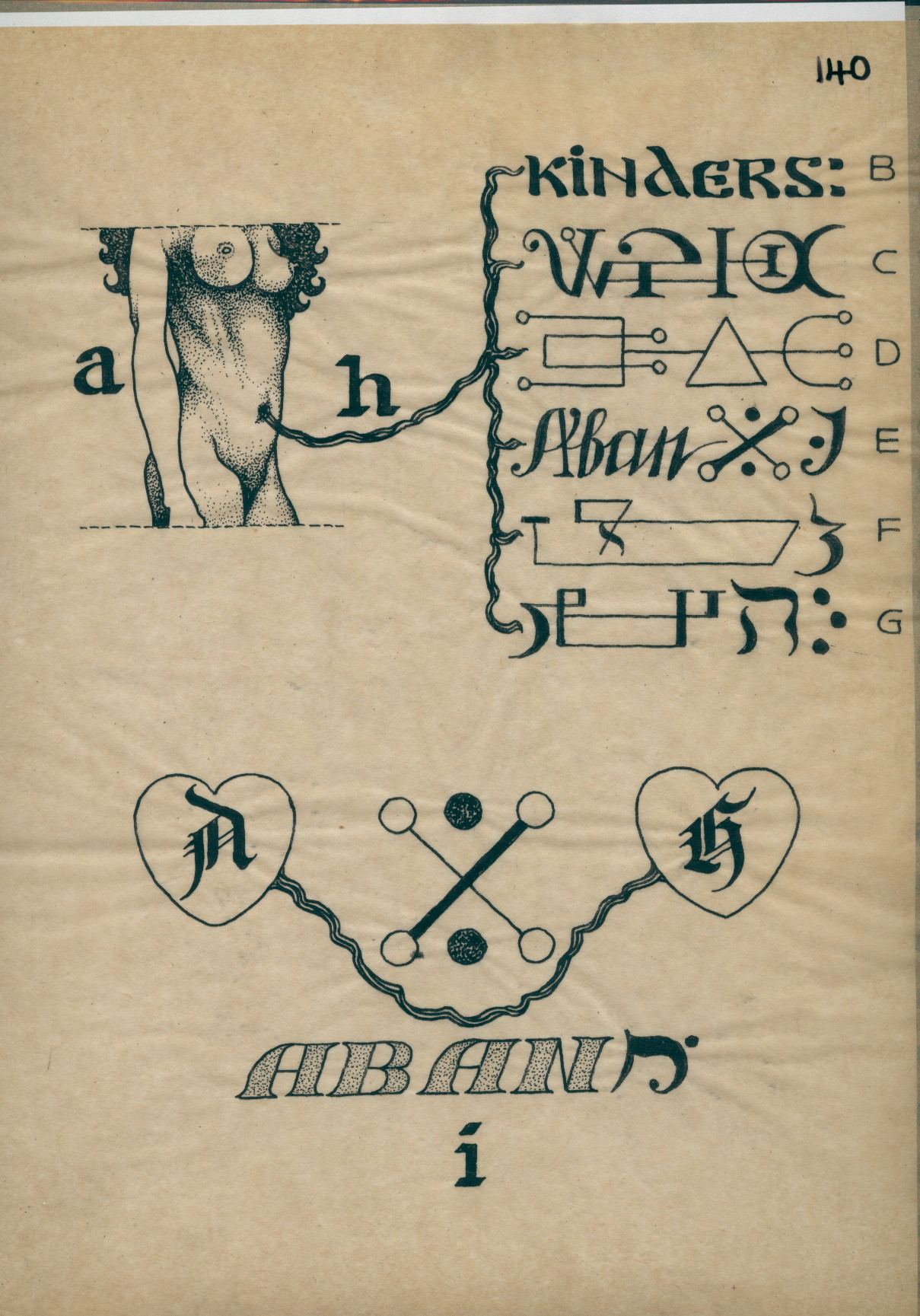 R1140 Drawing Of A Female Torso Connected To Words And Symbols