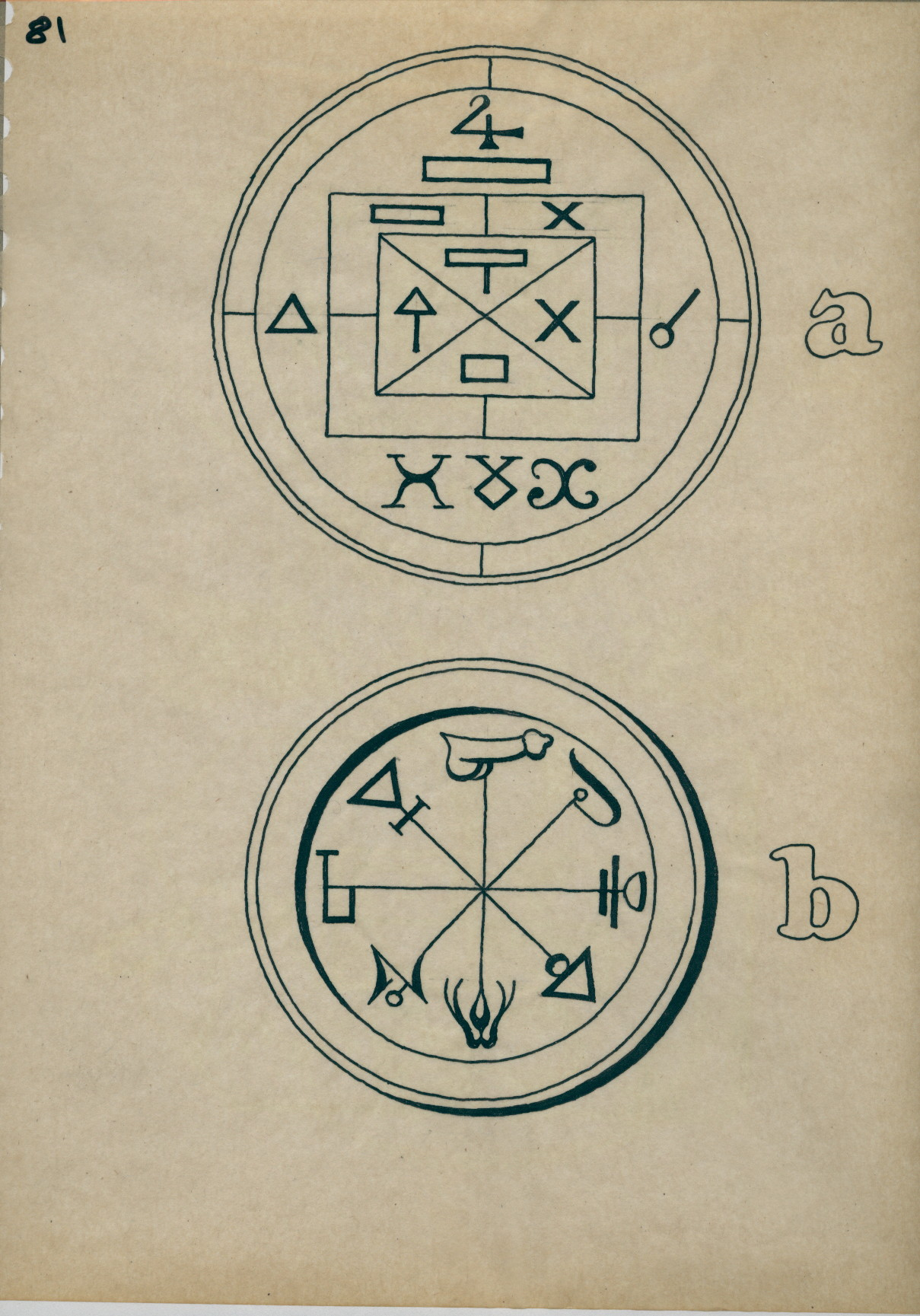 R181 Drawing Of Two Circles With Symbols Amongst Which A