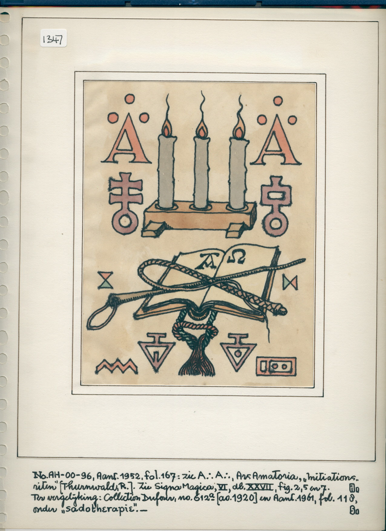 R/11/1347 - print of open book with alpha & omega, 2 whips