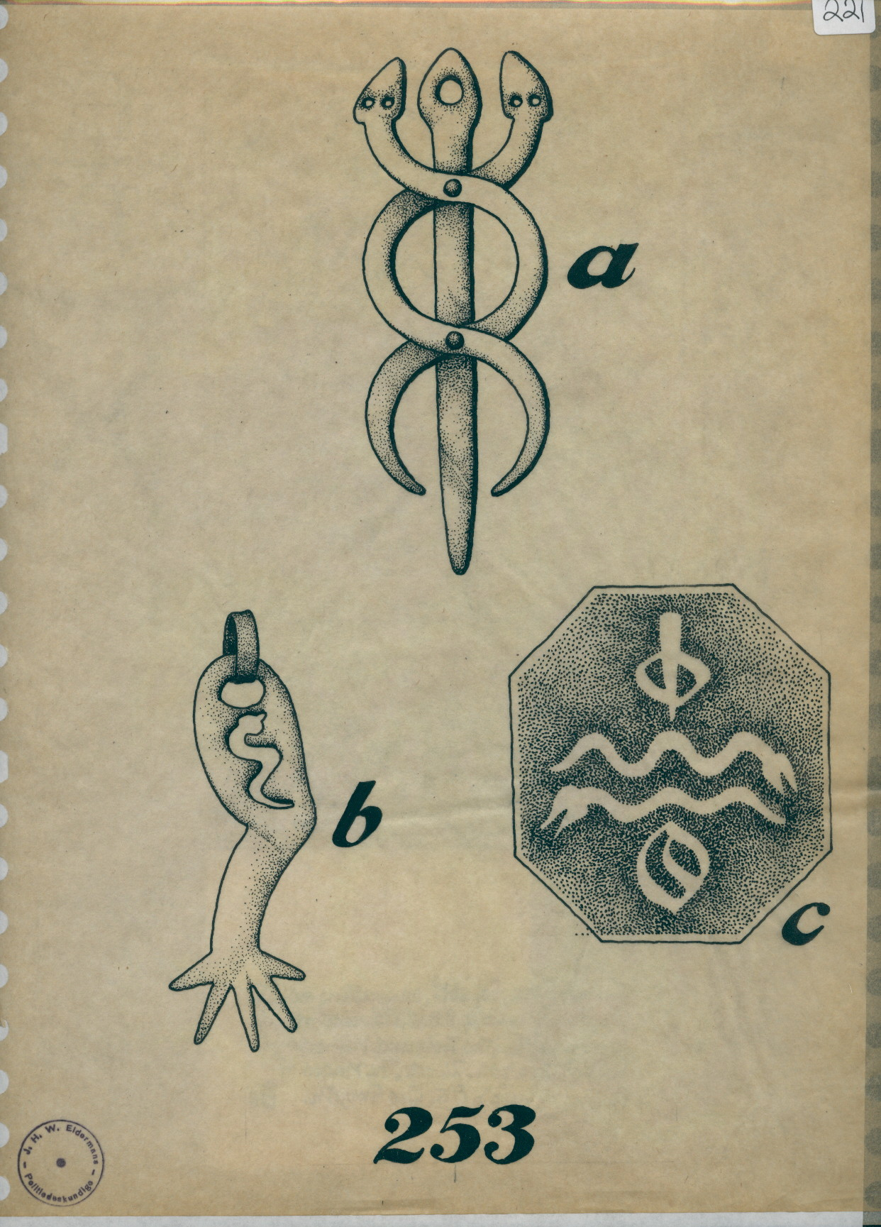 R 2 221 Drawing Of Caduceus Arm Pendant And Seal With Snakes Letters