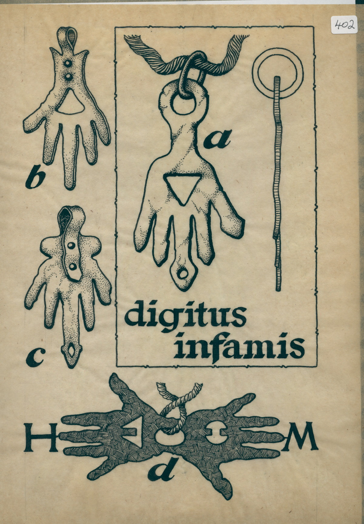 R/2/402 - drawing of four hand-amulets, one double, and 'Digitus