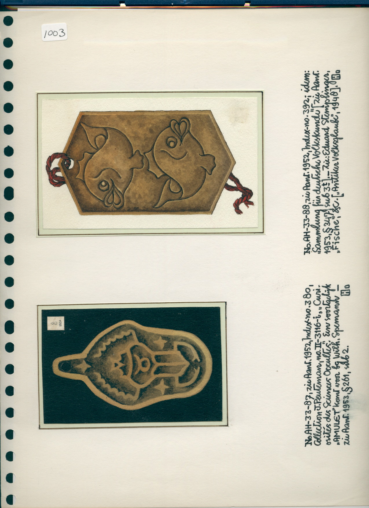 R/7/1003 - 2 prints of amulets, one with scarab, one with fish