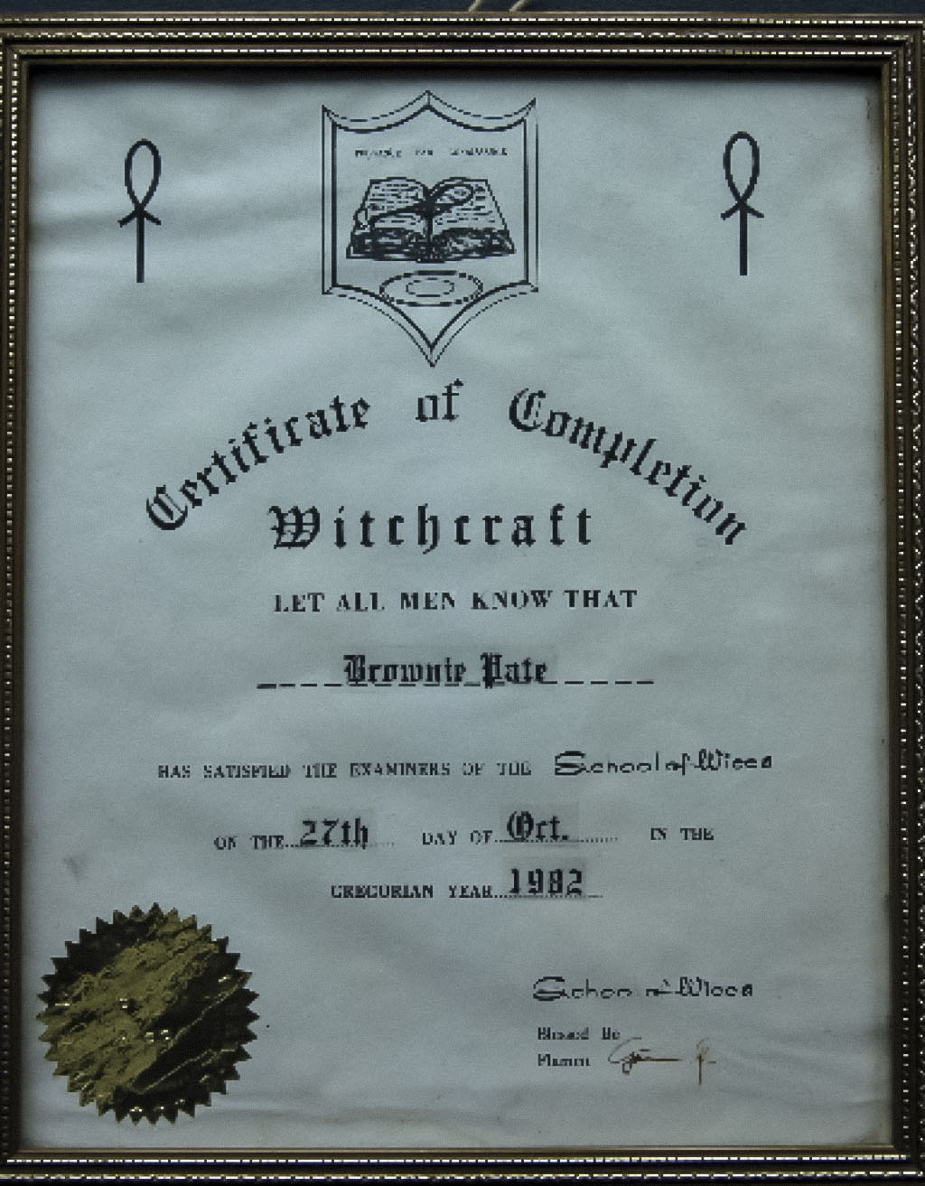 1656 Certificate Museum Of Witchcraft And Magic