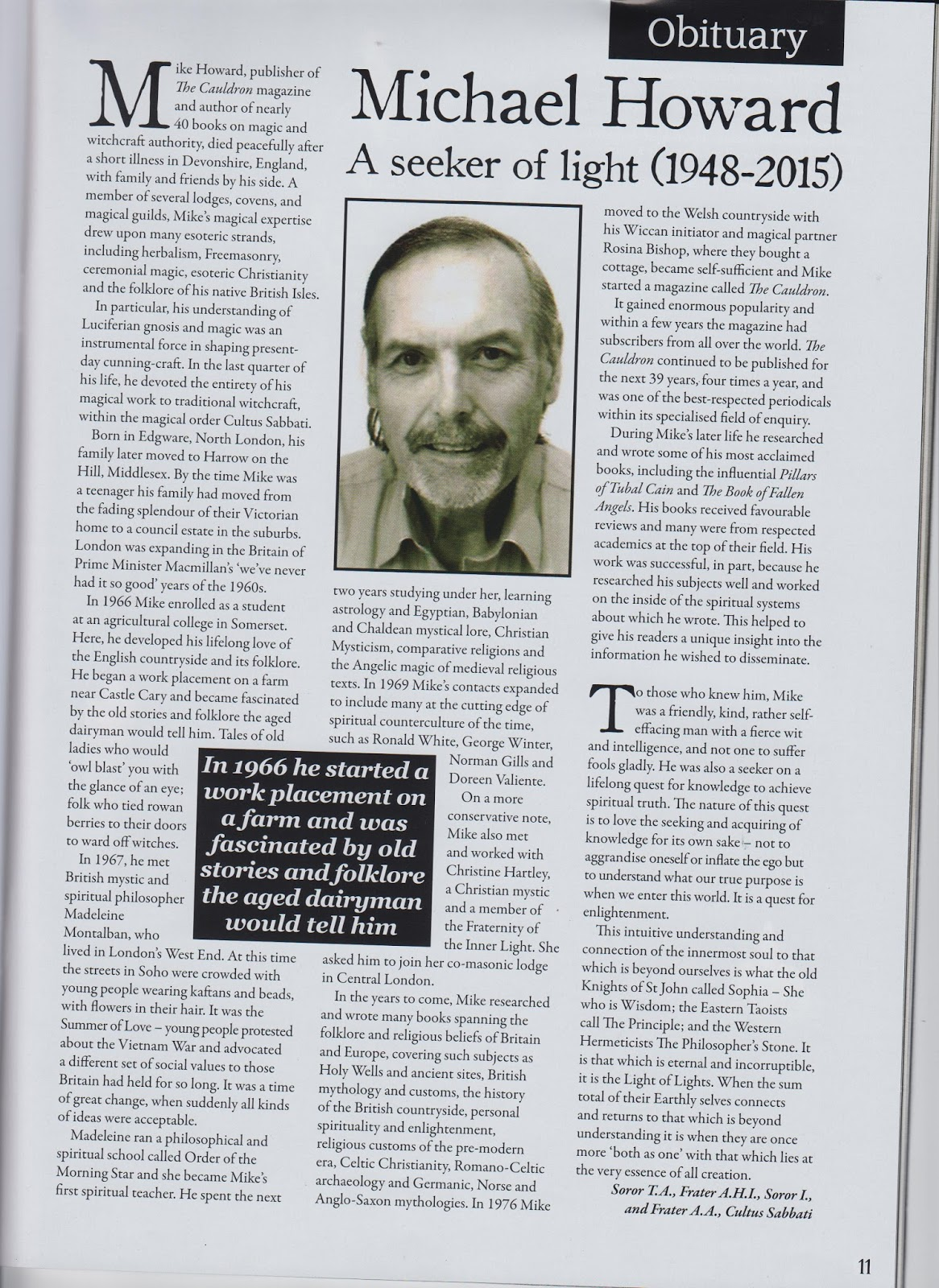 Mike Howard obituary in Pagan Dawn