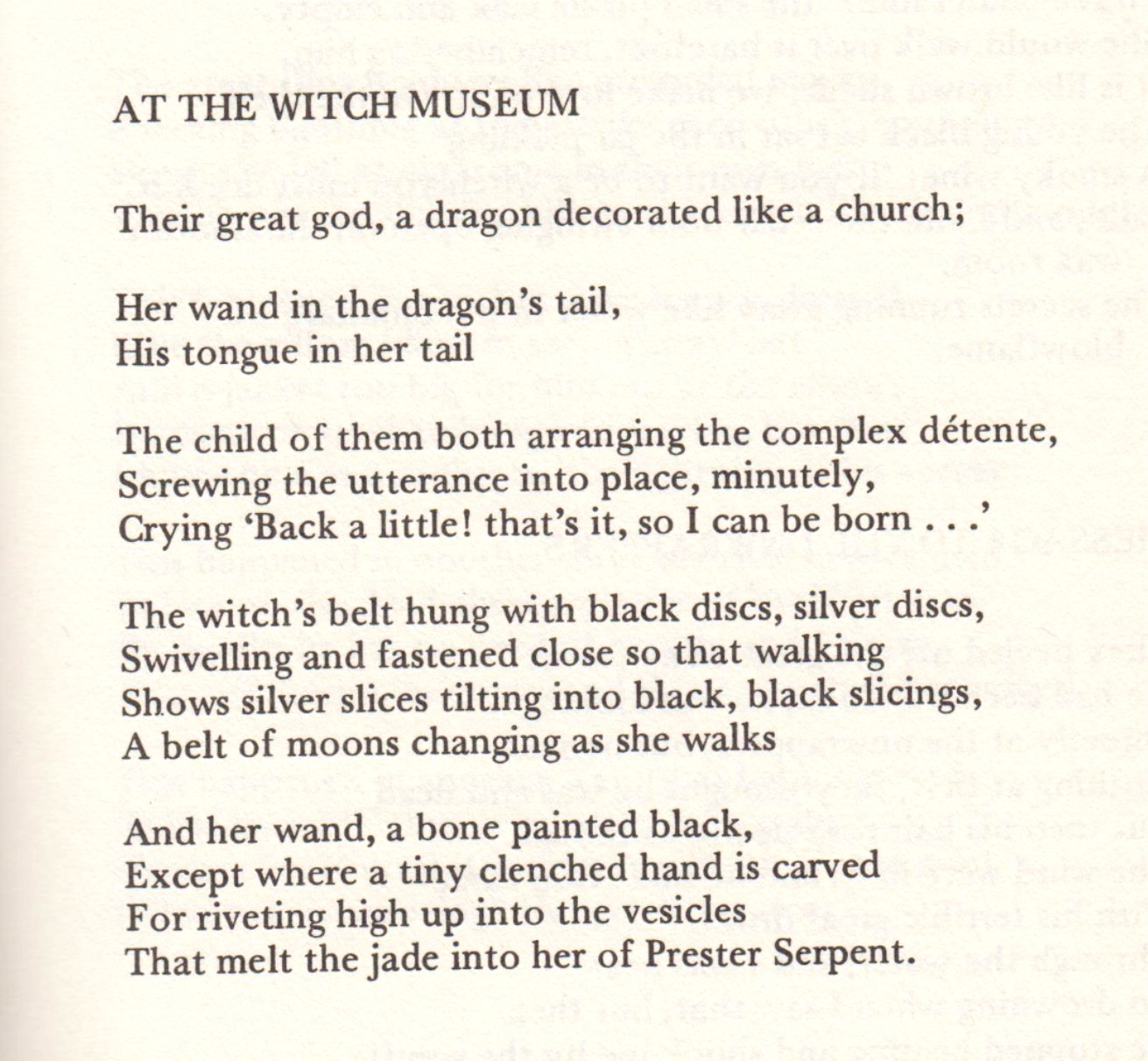 "Poem ""At the Witch Museum"" by Peter Redgrove"