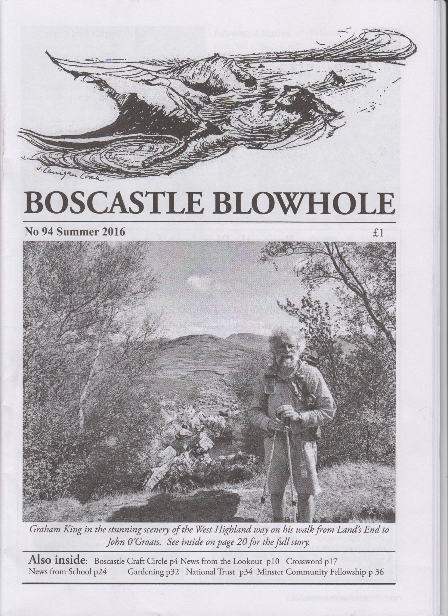 Graham King on the cover of Boscastle magazine